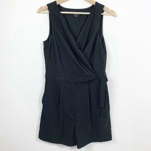 Loft Womens 6 Romper Black Sleeveless Wrap Side